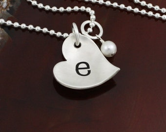 Dainty Heart Initial Necklace- Sterling Silver