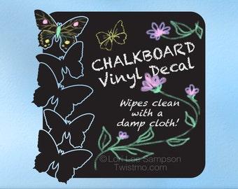 Butterflies Chalkboard Decal: Kids Bedroom Decor, Kids Playroom Decor, Chalk Board Vinyl Wall Decal, Girls, Teens, Children, Kitchen Decor