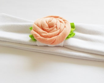 BABY SIZE Pick Your Color Jersey Knit Rose Flower Headband Headwrap