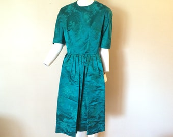 Vintage Royal Lynne Silk Emerald Green Dress NOS