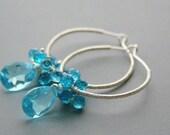 Swiss Blue Quartz Earrings, Wire Wrapped Hoops, Aqua Quartz, Sterling silver, Luxe Gemstone Earrings, Mystic Quartz, Luxury