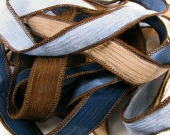 Hand Dyed Silk Ribbon - Crinkle Silk Jewelry Bracelet Fairy Ribbon - Quintessence - Blueberry Tart