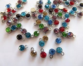 Tiny Rhinestone Charms in Mixed Colors with Silver Tone Bezel, 4mm, 50 Pieces, Earring Dangles, Pendants, Nickel Safe, G267