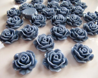 18mm Resin Flower Cabochons in Light Denim Blue, Rose, Flat Back, No Hole, Perfect for DIY Jewelry, Hair Clips, Cards and Scrapbooks