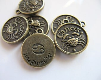 Zodiac CHARM, Cancer Astrology Pendant in Bronze Tone, Double Sided Design, 20mm x 17mm, 1 Piece