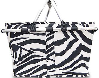 Open Collapsible Market Tote in Black and White Zebra Personalized Free Great for Beach, Pool, Wedding gifts, Great for Tennis