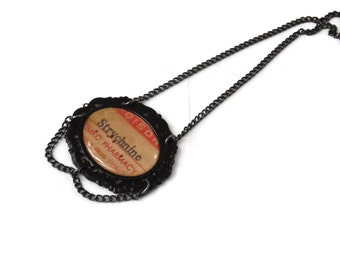Poison Bottle Label Necklace - STRYCHNINE - Very Limited Ed Gothic Spooky
