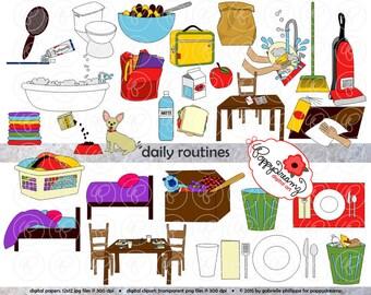 Daily Routines Clipart: (300 dpi transparent png) School Teacher Clip Art Morning School Evening Chores