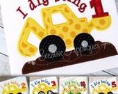 Birthday Digger Shirt - Custom Machine Appliqué - Truck Shirt - Boys Birthday Shirt