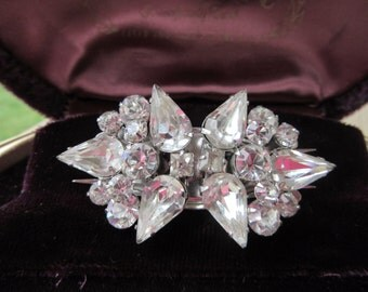 Antique Duette Brooch Pristine Clear Pronged Rhinestone two seperate Rhinestone Clips or One Brooch