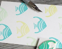 tropical fish rubber stamp, fish stamp, summer holiday, hawaiian rubber stamp, oceanic stamp, craft projects, card making, unmounted stamp
