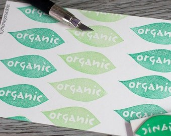 organic rubber stamp, leaves stamp, custom stamp, eco friendly stamp, organic label, word stamp, earth day stamp, organic stamp
