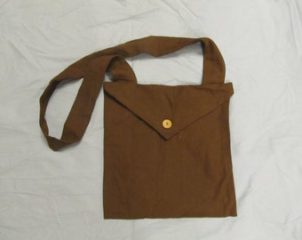 Haversack - brown cotton canvas/duck fabric - extra large - Wooden button - Colonial, 1812, Civil War reenacting