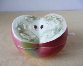 Lefton Sliced Apple Ceramic Jam Jar and Serving Spoon