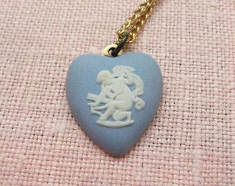 Wedgewood Jasperware Heart Shape Cupid Cameo Necklace