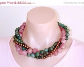 2 WK 60% OFF SALE: Statement Necklace Ashira Convertible Green Moss Agate Soft Pink Muscovite Natural Copper Freshwater Pearls, Kambaba, Ste