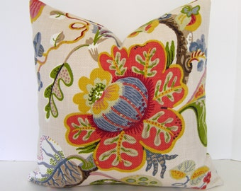 Braemore Wonderland Pearl - Both Sides - Beautiful Floral Cotton Basketweave - Accent Pillow - Throw Pillow