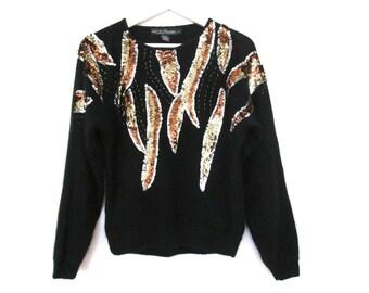 80's 90's Shaggy Sequin Sparkle Sweater size - M/L
