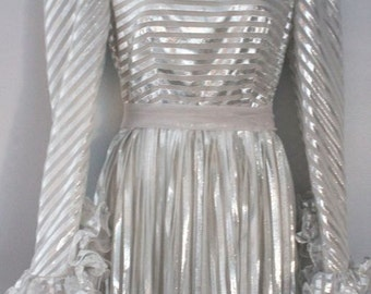 Silver ruffles and bows disco long dress by Kay Kipps New York, size S, sheer metallic and silky, completely fabulous, a 1970's dream