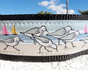 "Large Dog Collar Seabirds 1.5"" width Quick Release buckle or Martingale collar style - see 1"" collar link"