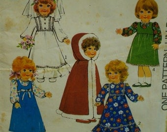 "70s Doll Clothes Pattern, Hooded Cape, Wedding Dress, Veil, Granny Gown, Pinafore, Jumper, Blouse, Style, No. 1333 Fits 18"" (46cm) Doll"