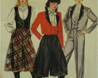 80s Culotte Pattern, Fly Front, Short Vest, Fitted, Short Jacket,Notched Collar, Pants, Cuffed, Plus Size Butterick No. 4566 Size 18 20 22