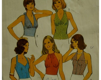"""70s Fitted Halter Tops Pattern, 5 Styles, Button Front, Tie Neck, Flip Collar, Style No. 4174 Size 10 Bust 32"""""""