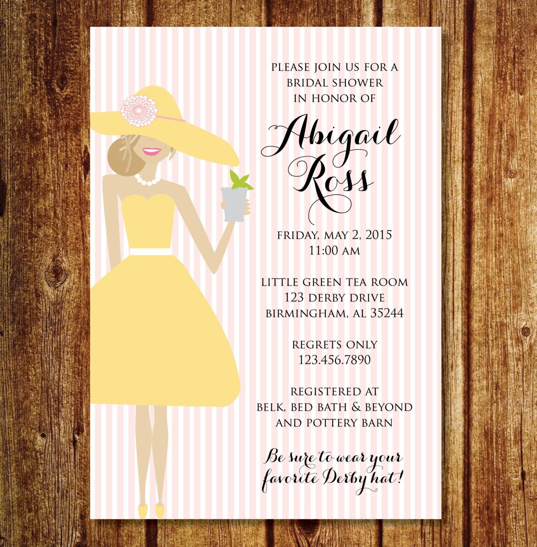 12 Cool Kentucky Derby Inspired Home Decor Ideas: Derby Bridal Shower Invitation Kentucky Derby Hat Bridal