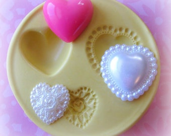 Silicone Heart Mold Cabochon Hearts Valentines Day Resin Molds Polymer Clay Mold Moulds