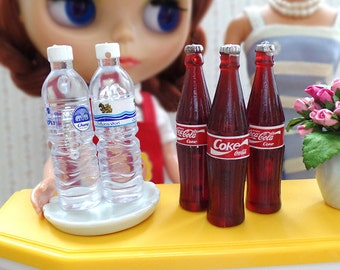 Miniature Beverage Drinks Bottle Fizzy Soft Drink - Mineral water / Soda, 1:6 scale Playscale Fake Food DIY Craft Food Jewelry Charms