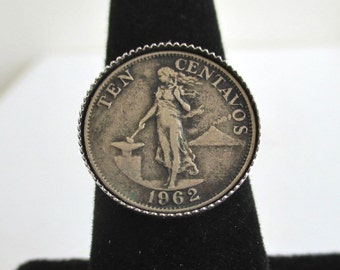 Philippines Coin Ring - Vintage Upcyceld Coin, Adjustable Size