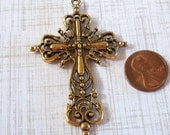 Large Cross Pewter Filagree Pendant Gold