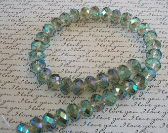 Translucent Pale Green AB Faceted Crystals Bead Strand