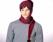 Extra Long Stocking Cap Maroon Oxblood Burgundy Adult Men Women Scarf Hat 5 Foot Long Tail Hat with Pompom Ball Warm Winter Fleece Beanie