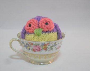 Hand Knit Owl Plush Purple and Yellow Ready To Ship
