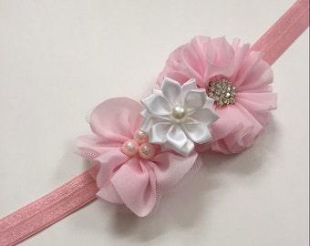 Light pink chiffon and white flower girl headband, blush pink girls headband