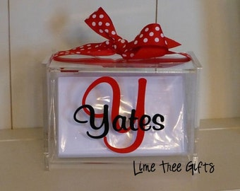 Monogrammed Recipe Box with 60 Blank cards