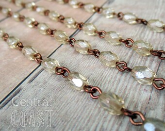 6mm x 4mm Champagne Fire Polished Czech Glass Bead Beaded Rosary Link Chain - 12 inches (1 Foot) Antique Copper Links - Central Coast Charms