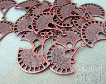 Fan Charm Pendant Connector - Mykonos Greek Casting - Copper Patina - 2 pieces - Bohemian ~ Rustic ~ Tribal ~ Zen - Central Coast Charms
