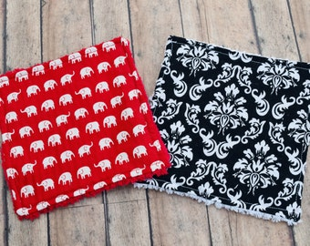 Chenille Wash Cloths - Red and Black Baby Washcloths - Set of Two - Free Shipping