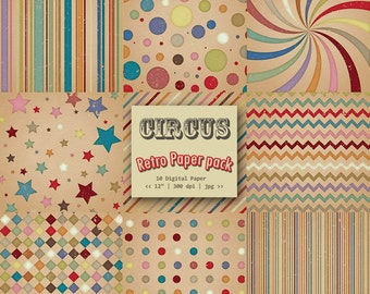CIRCUS Retro Digital Papers - Textured Retro Paper - Paper Pack - Instant Download