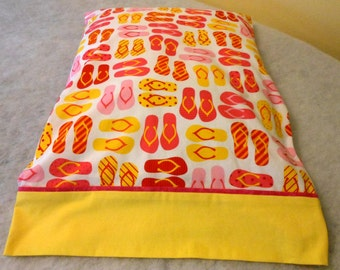Pillowcase Flip Flops with Yellow Cuff
