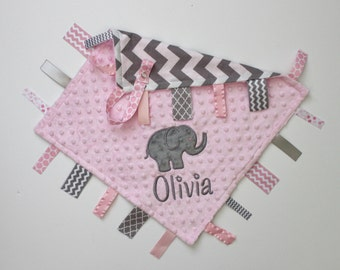 PERSONALIZED ELEPHANT Baby Girl Chevron Ribbon Tag Sensory Blanket with Pacifier Clip Large 16 x 16 Light Pink Minky