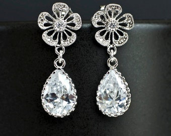 Bridal Earrings Bridesmaid Earrings Rodium Plated Cubic Zirconia Ear Posts with Cubic Zirconia Crystal Teardrops