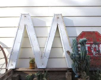 Vintage Marquee Sign Letter Capital 'M' / 'W': Very Large White Metal Wall Hanging Initial -- Industrial Neon Channel Advertising Salvage