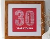 30th Birthday Print - Personalised Birthday Print - Thirtieth Birthday Print for Her - Personalized Birthday Print for Him