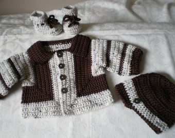 Chocolate Chip Sweater-Jacket 3 Piece Set for 6 Moinths