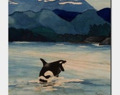 Orca Killer Whale Birchwood or Metal Art Print - Ocean Wildlife Home Decor