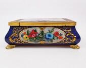 Vintage Embossed Hinged Floral Tin Box