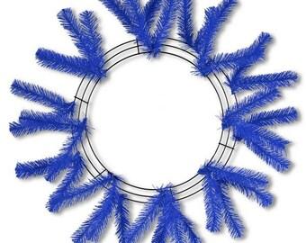 15 Inch ROYAL BLUE Deco Mesh Work Wreath XX748825, Poly Mesh Supplies